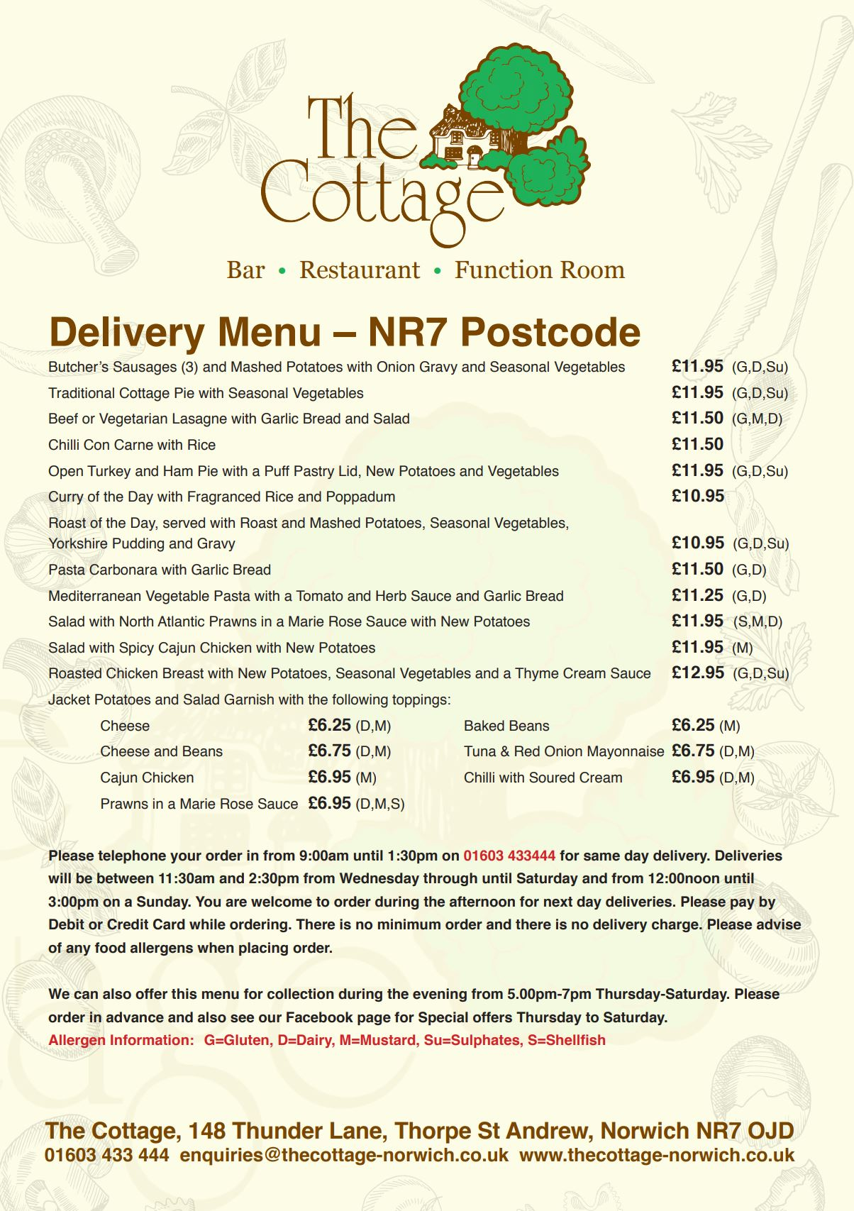Takeaway menu preview